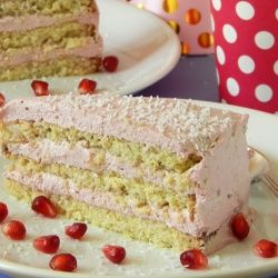 Coconut-raspberry birthday cake / torte, sugar and gluten free