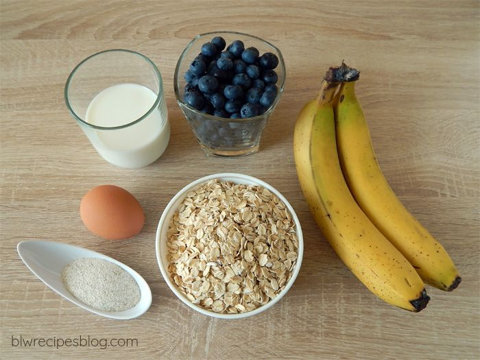 Oat muffins with blueberries / fruit - ingredients